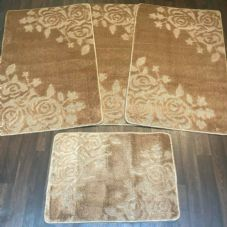 ROMANY GYPSY WASHABLES SET OF TOURER SIZES 67X110CM MATS/RUGS ROSE LIGHT BROWN